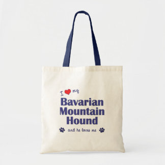 I Love My Bavarian Mountain Hound Male Dog Canvas Bags