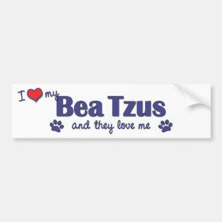 I Love My Bea Tzus (Multiple Dogs) Bumper Sticker