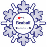 """I Love My Beabull (Female Dog) Cutout<br><div class=""""desc"""">Show the world how much you love your Beabull (and that the feeling is mutual!). With a heart and two pawprints, the words read &quot;I love my Beabull and she loves me&quot;. This design is specifically for a female dog (she), we also have variants available for a male dog (he)...</div>"""