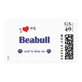 I Love My Beabull (Male Dog) Postage