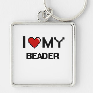 I love my Beader Silver-Colored Square Keychain