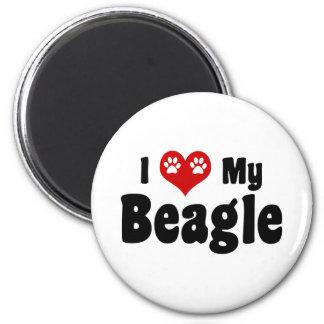 I Love My Beagle 2 Inch Round Magnet