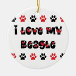 I Love My Beagle Christmas Tree Ornaments