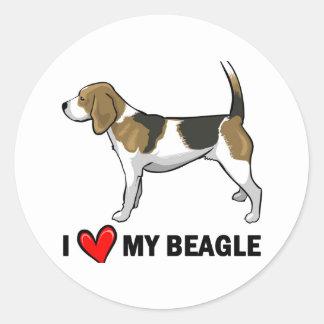 I Love My Beagle Classic Round Sticker