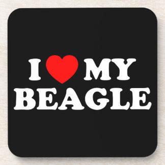 I Love my Beagle Cork Coaster