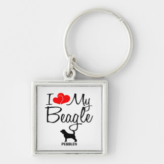 I Love My Beagle Custom Keychain