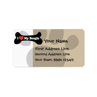 I Love My Beagle - Dog Bone Custom Address Labels