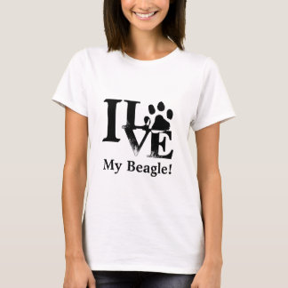 I Love My (Beagle) Dog Paw Print T-Shirt