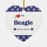 I Love My Beagle (Female Dog) Ornaments