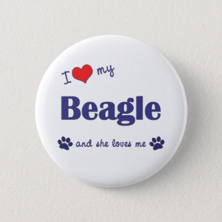 I Love My Beagle (Female Dog) Pinback Button