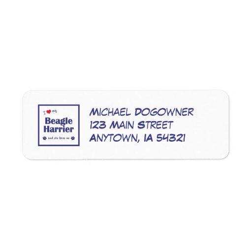 I Love My Beagle Harrier (Female Dog) Return Address Labels