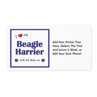 I Love My Beagle Harrier (Female Dog) Shipping Label