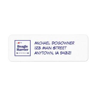 I Love My Beagle Harrier (Female Dog) Return Address Label