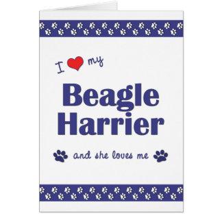 I Love My Beagle Harrier (Female Dog) Stationery Note Card