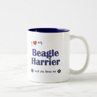 I Love My Beagle Harrier (Female Dog) Two-Tone Coffee Mug