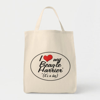 I Love My Beagle Harrier (It's a Dog) Grocery Tote Bag