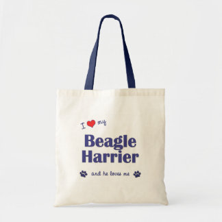 I Love My Beagle Harrier (Male Dog) Budget Tote Bag