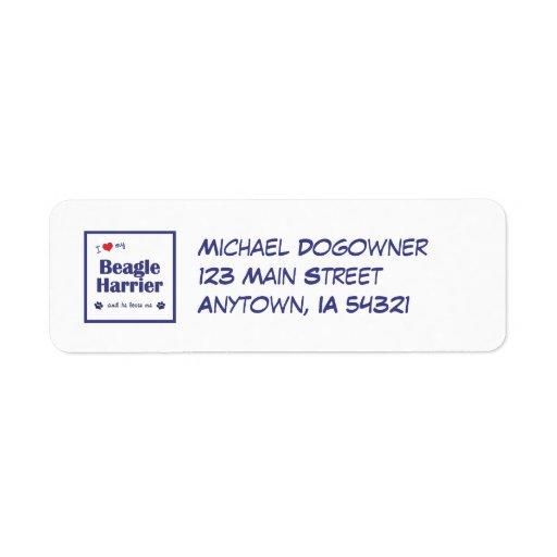 I Love My Beagle Harrier (Male Dog) Custom Return Address Label