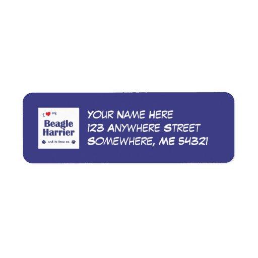 I Love My Beagle Harrier (Male Dog) Return Address Label
