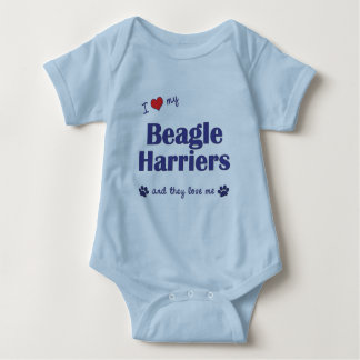 I Love My Beagle Harriers (Multiple Dogs) Baby Bodysuit
