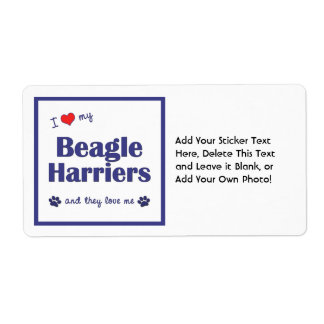 I Love My Beagle Harriers (Multiple Dogs) Shipping Label