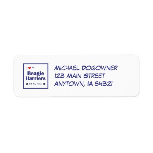 I Love My Beagle Harriers (Multiple Dogs) Return Address Labels