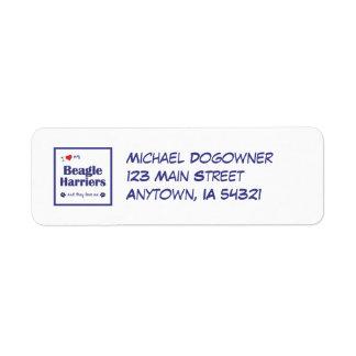 I Love My Beagle Harriers (Multiple Dogs) Return Address Label