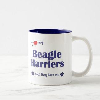 I Love My Beagle Harriers (Multiple Dogs) Two-Tone Coffee Mug
