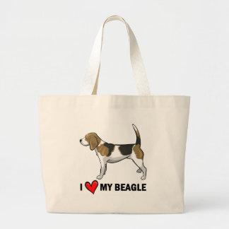 I Love My Beagle Large Tote Bag