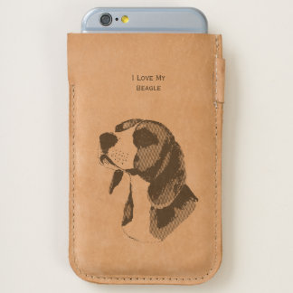 I Love My Beagle - leather iPhone 6/6S Case