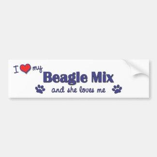 I Love My Beagle Mix (Female Dog) Bumper Sticker