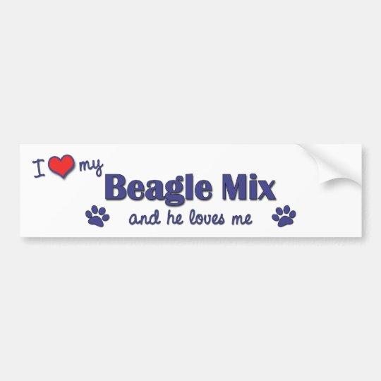 I Love My Beagle Mix (Male Dog) Bumper Sticker