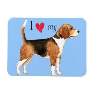 I Love my Beagle Rectangular Photo Magnet