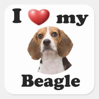 I Love My Beagle Square Sticker
