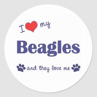 I Love My Beagles (Many Dogs) Round Stickers