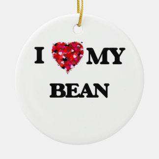 I Love MY Bean Ceramic Ornament