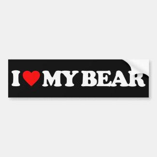 I LOVE MY BEAR CAR BUMPER STICKER