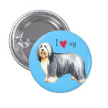 I Love my Bearded Collie 1 Inch Round Button