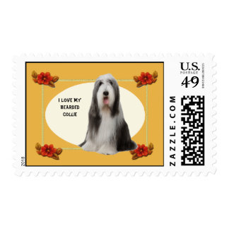 I Love My Bearded Collie & Autumn Floral Postage