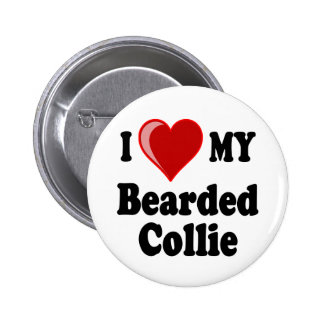 I Love My Bearded Collie Dog 2 Inch Round Button