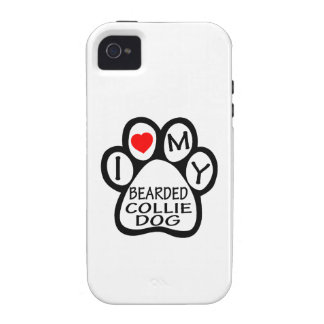 I Love My Bearded Collie Dog Case-Mate iPhone 4 Cases