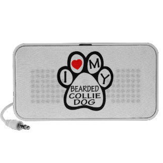 I Love My Bearded Collie Dog Travelling Speakers