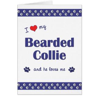 I Love My Bearded Collie (Male Dog) Card