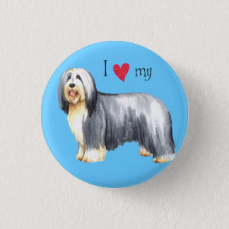 I Love my Bearded Collie Pinback Button