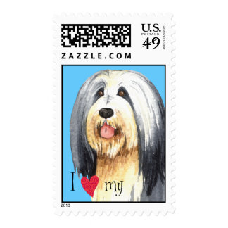 I Love my Bearded Collie Postage
