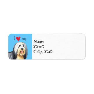 I Love my Bearded Collie Return Address Label