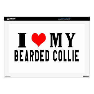 I Love My Bearded Collie Decals For Laptops