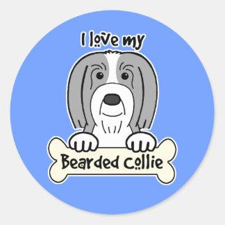 I Love My Bearded Collie Sticker