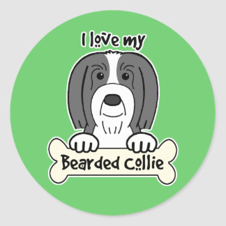 I Love My Bearded Collie Stickers