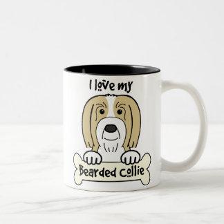 I Love My Bearded Collie Two-Tone Coffee Mug